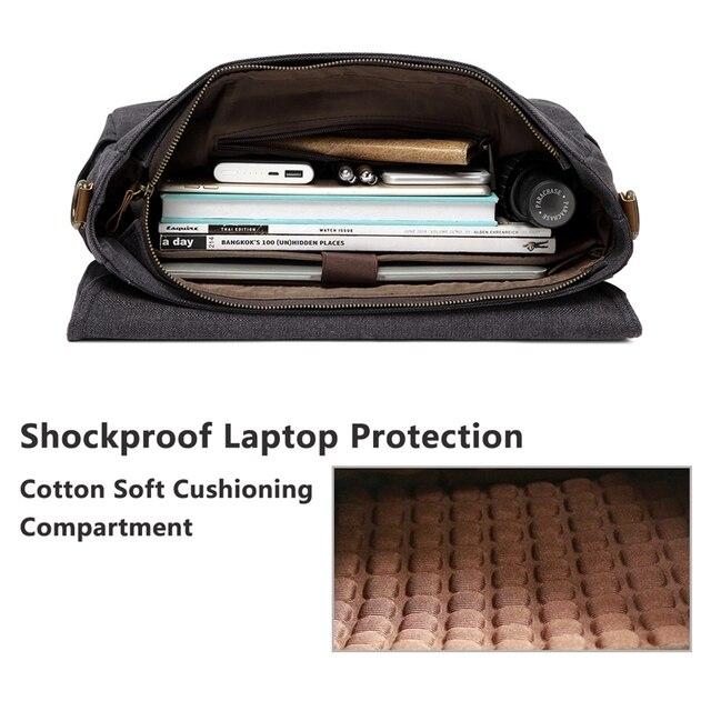 Vaschy mensageiro saco para homem do vintage resistente à água encerado lona 15.6 polegada portátil maleta acolchoado bolsa de ombro para homens 5
