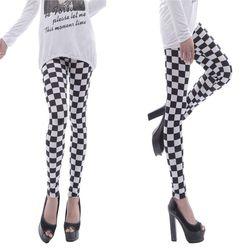 Frauen Schwarz Weiß Checkered Plaid Gedruckt Mitte Steigen Knöchel Länge Grundlegende Dünne Strumpfhosen Casual Sport Bleistift Hosen