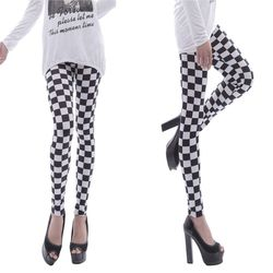 Womens Black White Checkered Plaid Printed Mid Rise Ankle Length Basic Skinny Tights Casual Sports Pencil Pants