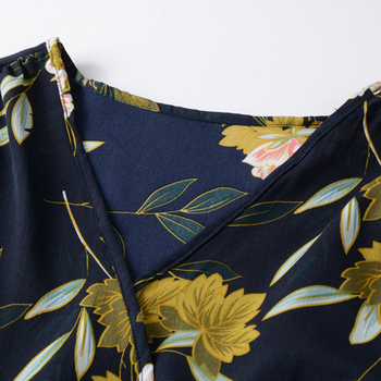 GOPLUS Boho Floral Print Chiffon Dress Women Sexy Cross V Neck Long Sleeve Midi Dress Lady 2020 Summer Elegant Vestidos Female 3