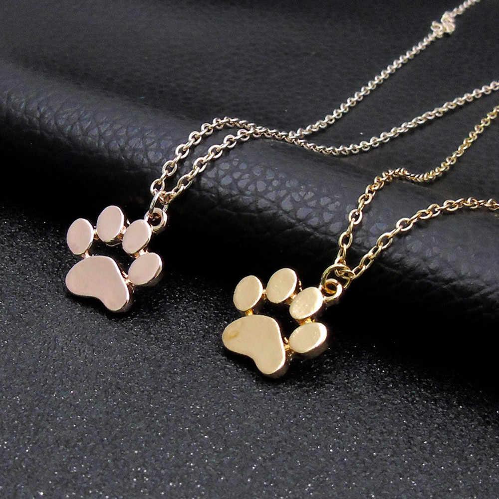 European Popular Dog Footprint Necklace Multiple Colour Animal Pendant Necklace Jewelry Pendant  For Women Elegant Sweet Style