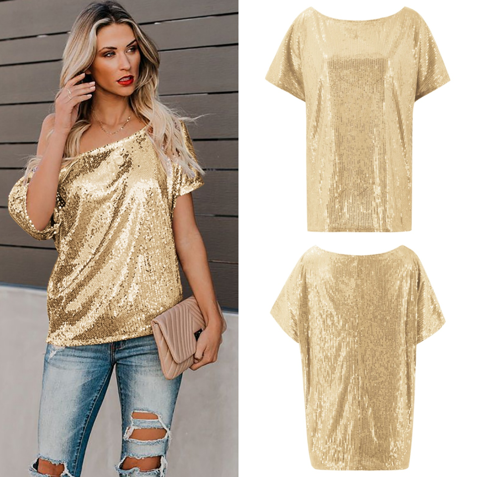 Sequin shirt 2020 sequin top Tee club Women Shirt Camiseta Mujer 2019 Verano Short Sleeve blusas feminina Pink Black Gold Blue image