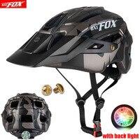 BATFOX-casco de Ciclismo de carreras para hombre y mujer, ultraligero, equipo de seguridad deportiva, con luz en molde, para Ciclismo de Carretera de montaña
