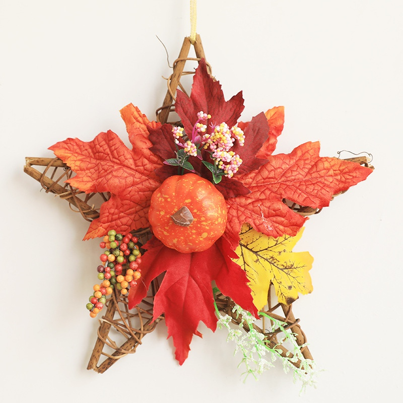 Halloween Wreath Star Shape Decorative Artificial Maple Leaves Autumn Garland For Front Door Home Decoration Farmhouse Decor image