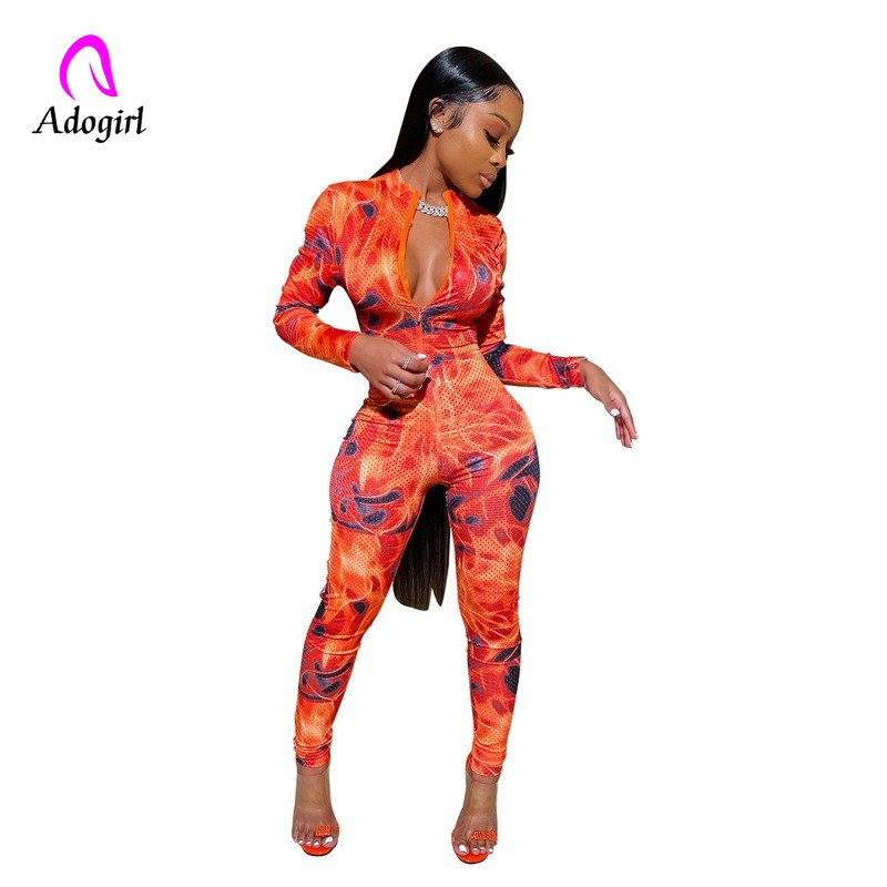 Printed Zipper Front Sexy Bandage Jumpsuits For Women 2019 Long Sleeve Bodycon One Piece Romper Elegant Long Plus Size Playsuits