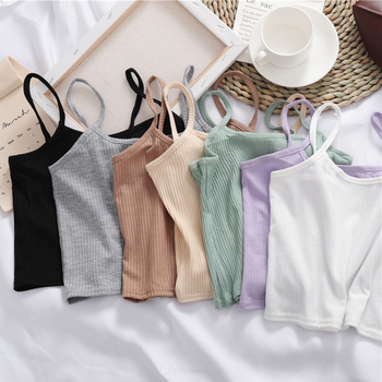 Spaghetti Strap Camisole Backless Women Vest Thread Crop Top Unique Tank Traceless Threaded Suspender Small Tops