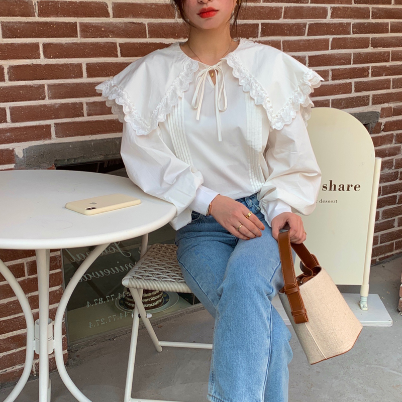 Hb8561b7fe35b4536bb28dfc3e39500dcQ - Spring / Autumn Lace-Up Collar Long Sleeves Loose pleated Solid Blouse