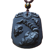 Natural Black Obsidian Pendant Animals Toads Frog Necklace Bring Wealth Mens Jade Jewelry and Free Rope