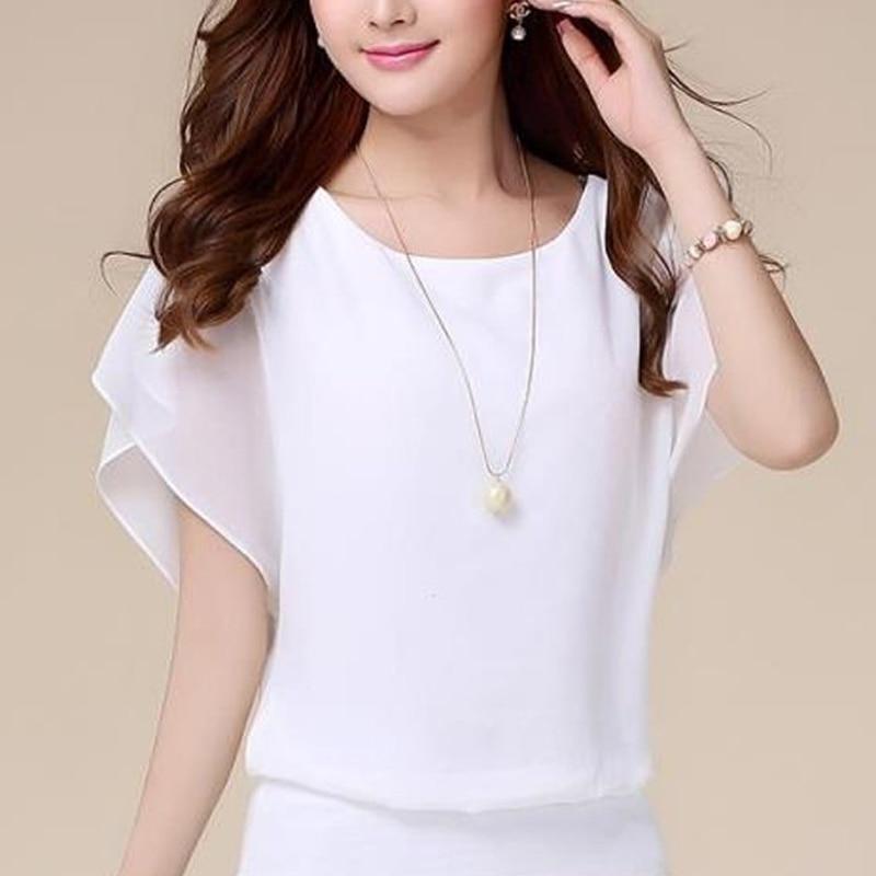 Casual Women Chiffon Blouse Female Solid Short Sleeve Ruffle Batwing Short Shirt Summer Beach Plus Size