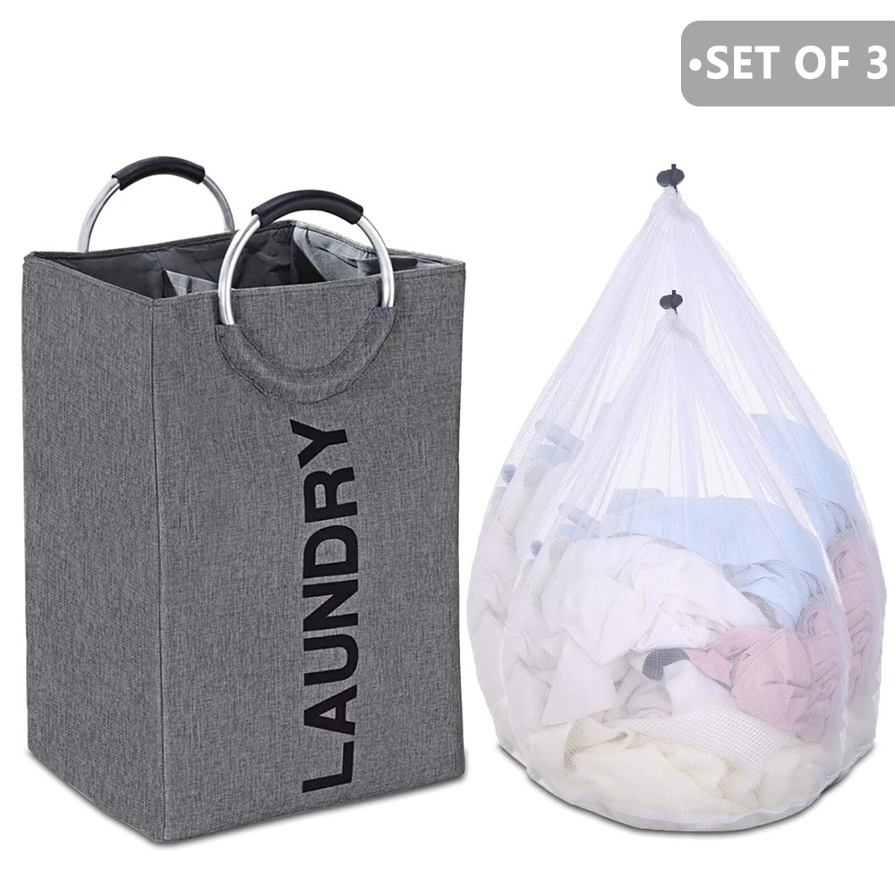 A -Collapsible Laundry Basket Bag With Alloy Handle Hamper Waterproof Wasmand Oxford Large Capacity Laundri Basket