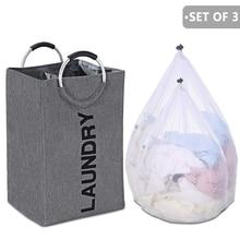 A bolsa de cesta de lavandería plegable con mango de aleación, cesto impermeable Wasmand Oxford de gran capacidad