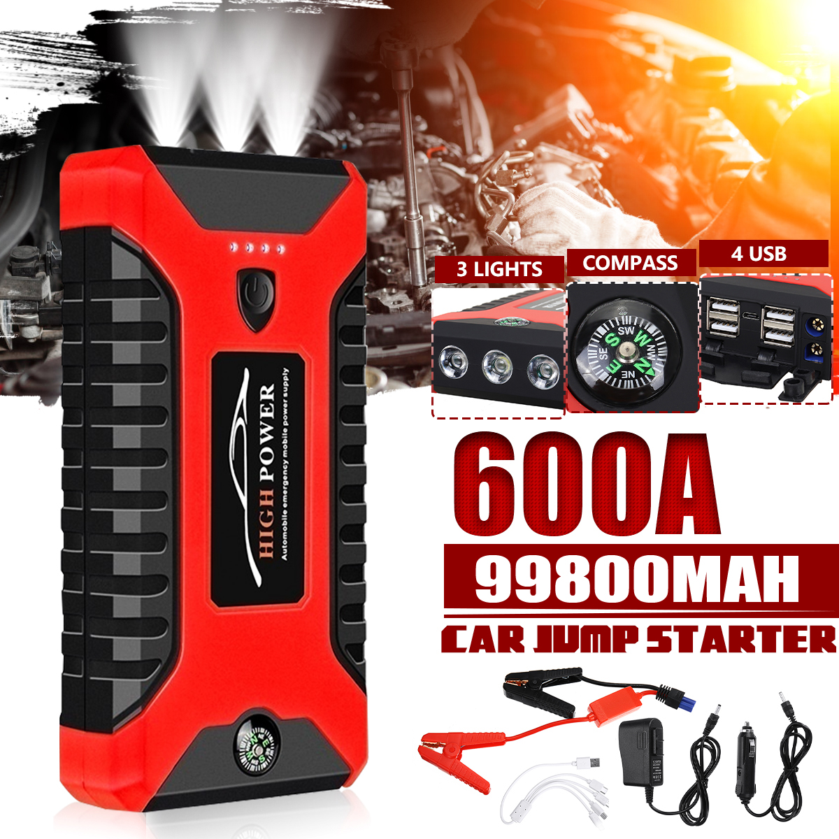Multifunction 99800mAh 600A Car Jump Starter Portable Lighter 4 USB Power Bank Car Battery Booster Charger Starting Device
