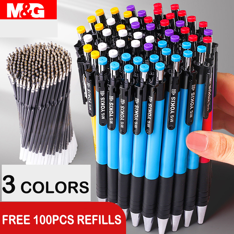 40pcs/lot M&G Colorful Retractable Ballpoint Pen 0.7mm Blue Black Red Ball Point Pen Pens For School Office Supplies