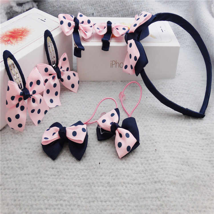 New 7pcs/set Stripe Hairpins Lovely Bow hair band Girls Hair clip Children Accessories Headwear Hairgrips Gum for Baby Headband