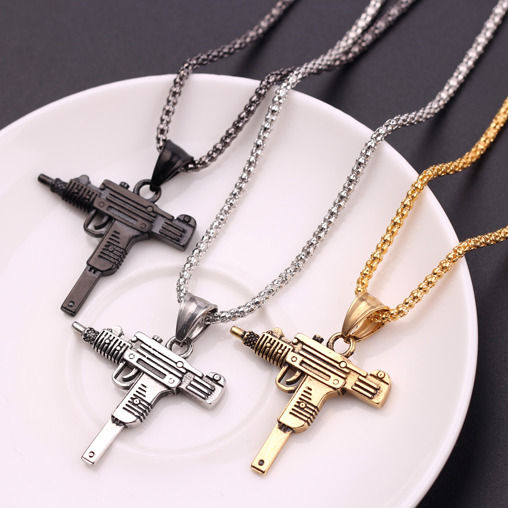 Cool Gothic Hip Hop UZI Kolye GUN Shape Pendant Necklace Silver/Gold/Black Color Army Style Male Chain Men Necklaces Jewelry(China)