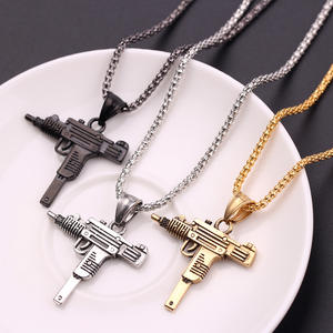Pendant Necklace Jewelry Male Chain UZI Cool Hip-Hop Army-Style Gothic Gold/black-Color