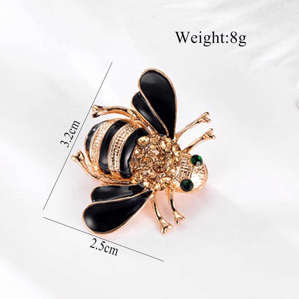 Hot Sale Indah Halus Lebah Kecil Kristal Berlian Imitasi Pin Bros Hadiah Hitam Bros untuk Wanita Natal Bros