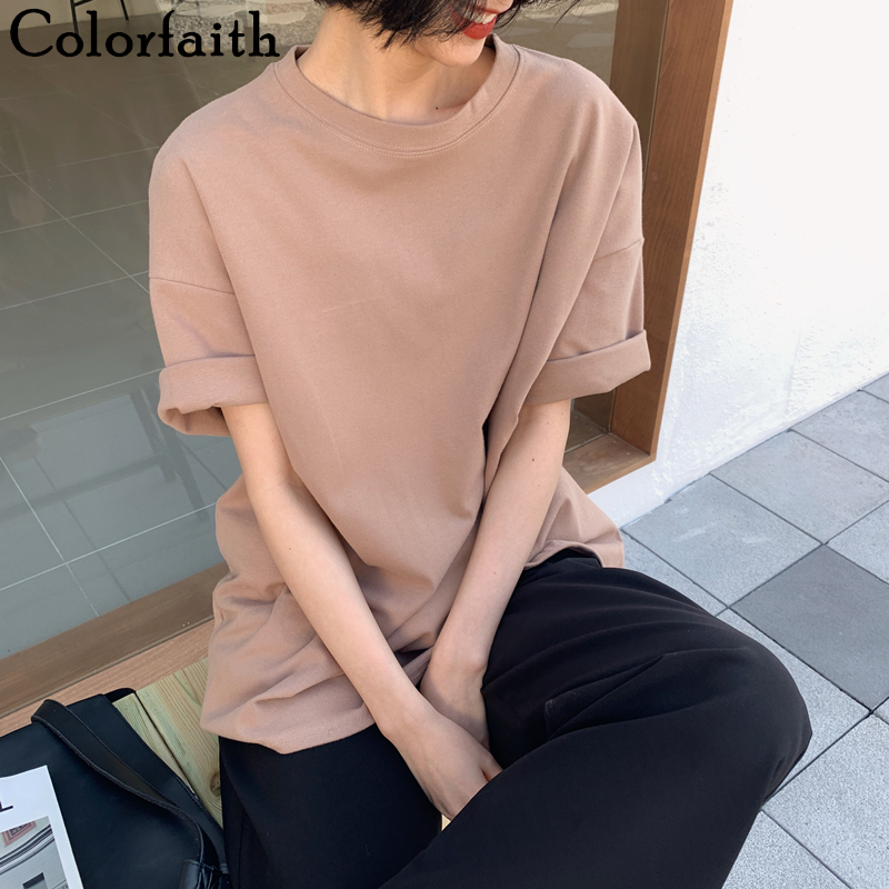 Colorfaith New 2020 Autumn Women 6 Colors T-shirt Casual Short Sleeve Loose Bottoming Solid Female Basic Thick Tops Shirt T6789(China)
