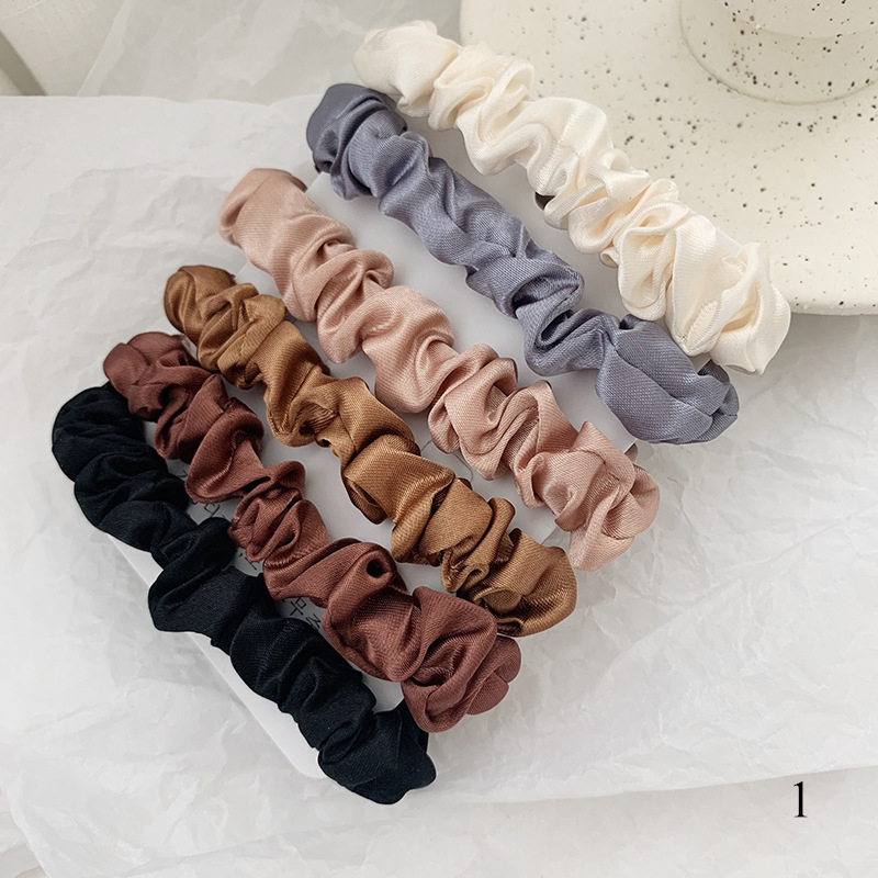 6Pcs/Set Satin Silk Solid Color Scrunchies Elastic Hair Bands New Women Girls Hair Accessories Ponytail Holder Hair Ties Rope