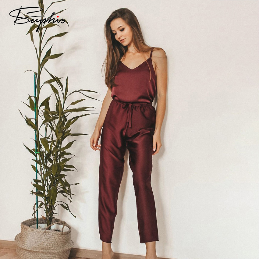 Suphis V-Neck Solid Sleepwear Satin Women Two Piece Set Top And Pants Beige Camis Pyjama Sexy Femme Red Womens Pajamas Home Suit