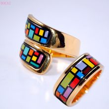 Mondrian style cloisonne enamel rings for women 2020 new fashion jewelry Enamel rings female women's rings(China)