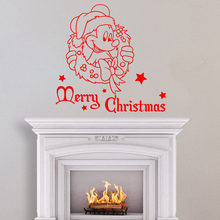 Merry Christmas Wall Sticker Cute Cartoon Mickey Mouse Home Decoration Winter Decorations Nursery Vinyl Decals Poster W729