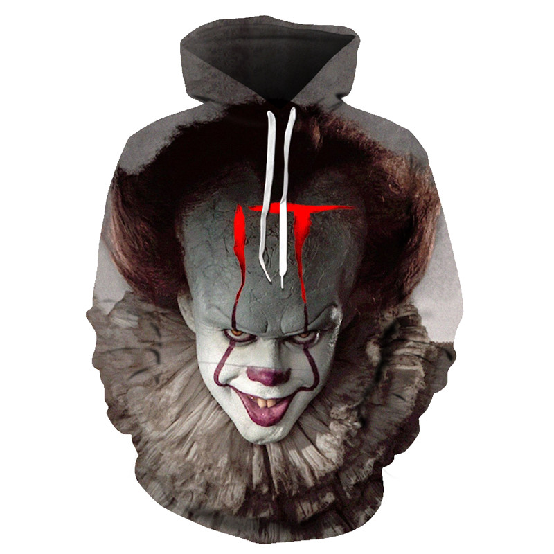 Free Shipping Hoodie Horror Movie Clown 3D Print Hoodie Funny Pullover Joker Sweatshirt Hip Hop Autumn Winter Harajuku Jacket