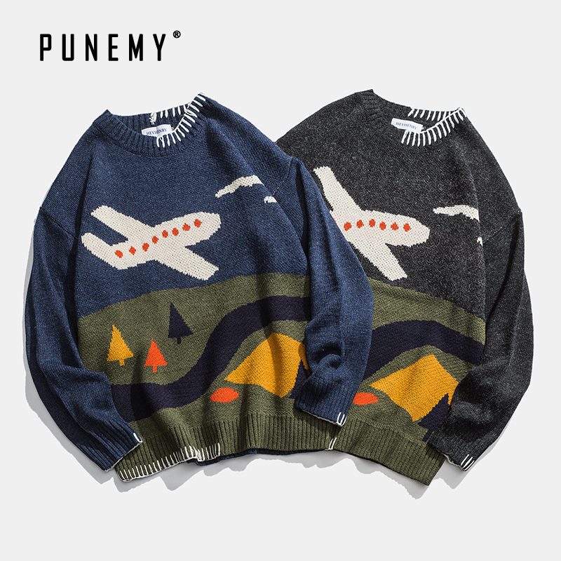 Hip Hop Men Sweaters Retro Cartoon Plane Pattern O-neck Oversize Acrylic Streetwear Harajuku Autumn New Pullover Men's Sweaters