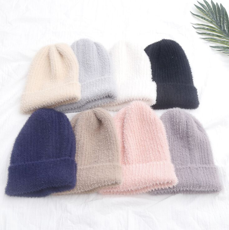 Woman Fashion Brushed Wool Knitted Hat Beanie Winter Girl Lady Casual Curling Wool Knit Skullies Cap Bone Gorros
