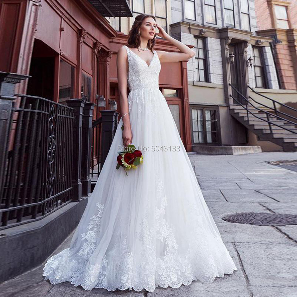 Romantic Lace Applique V Neck A Line Wedding Dresses 2020 Stylish Backless Sweep Train Bridal Gowns Off The Shoulder Bride Dress