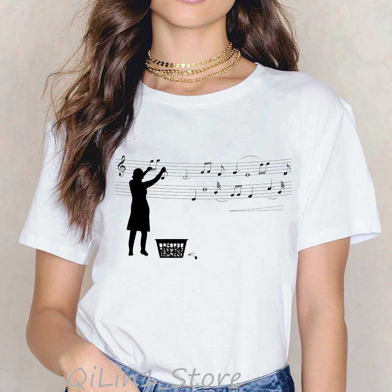 Nowość nuta czarny kot nadruk zwierzęta tshirt kobiety harajuku kawaii ubrania letni top koszulka damska tumblr koszulki z nadrukami