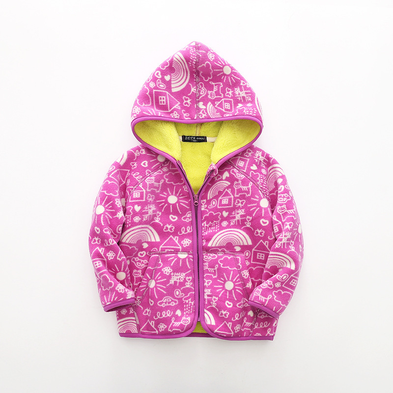 Kids coat fleece boys clothes winter warm clothes children clothing baby spring polar fleece girls boys jacket Hooded kids coat 5