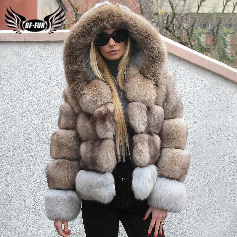 2019 Winter New Luxury Real Fox Fur Coat For Women Patchwork Thick Warm Full Pelt Genuine Fox Fur Jacket With Hood Women Outwear