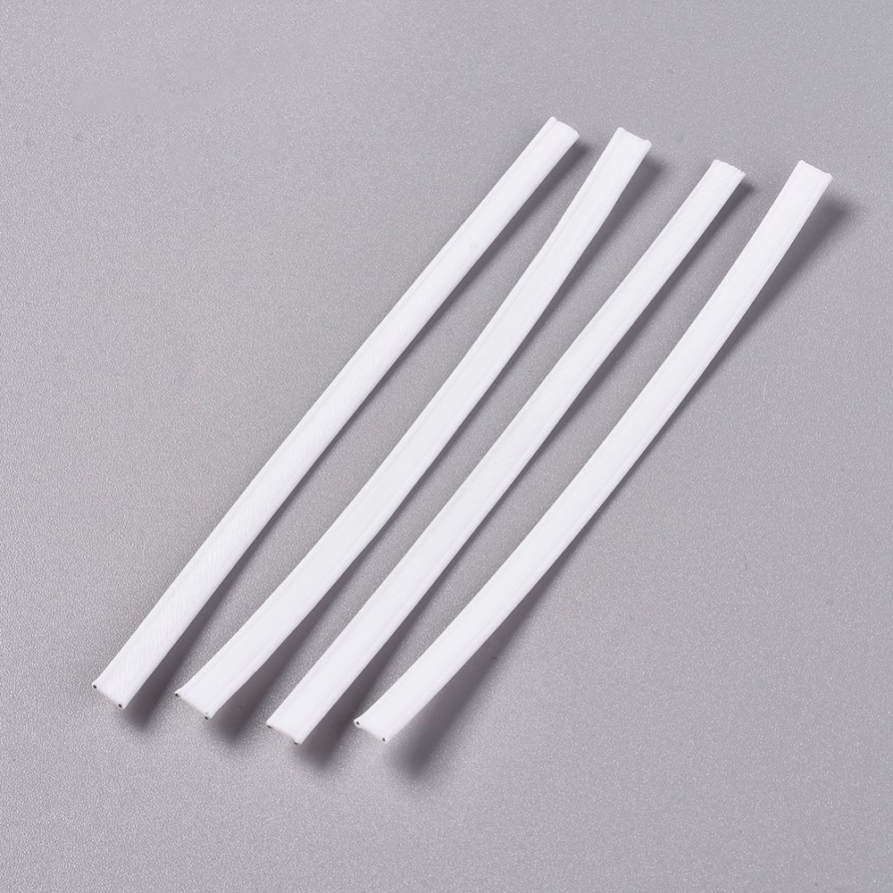 100pcs White PE Plastic Nose Bridge Strip Wire For DIY Mask Making Material,with Galvanized Iron Wire Double Core Inside 100x5mm