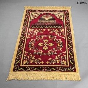 Image 4 - Sztuczny kaszmir muzułmański mata 70x110cm arabski islamski dywanik modlitewny wysokiej klasy ceremonia koc kult dywan Dropshipping dywan