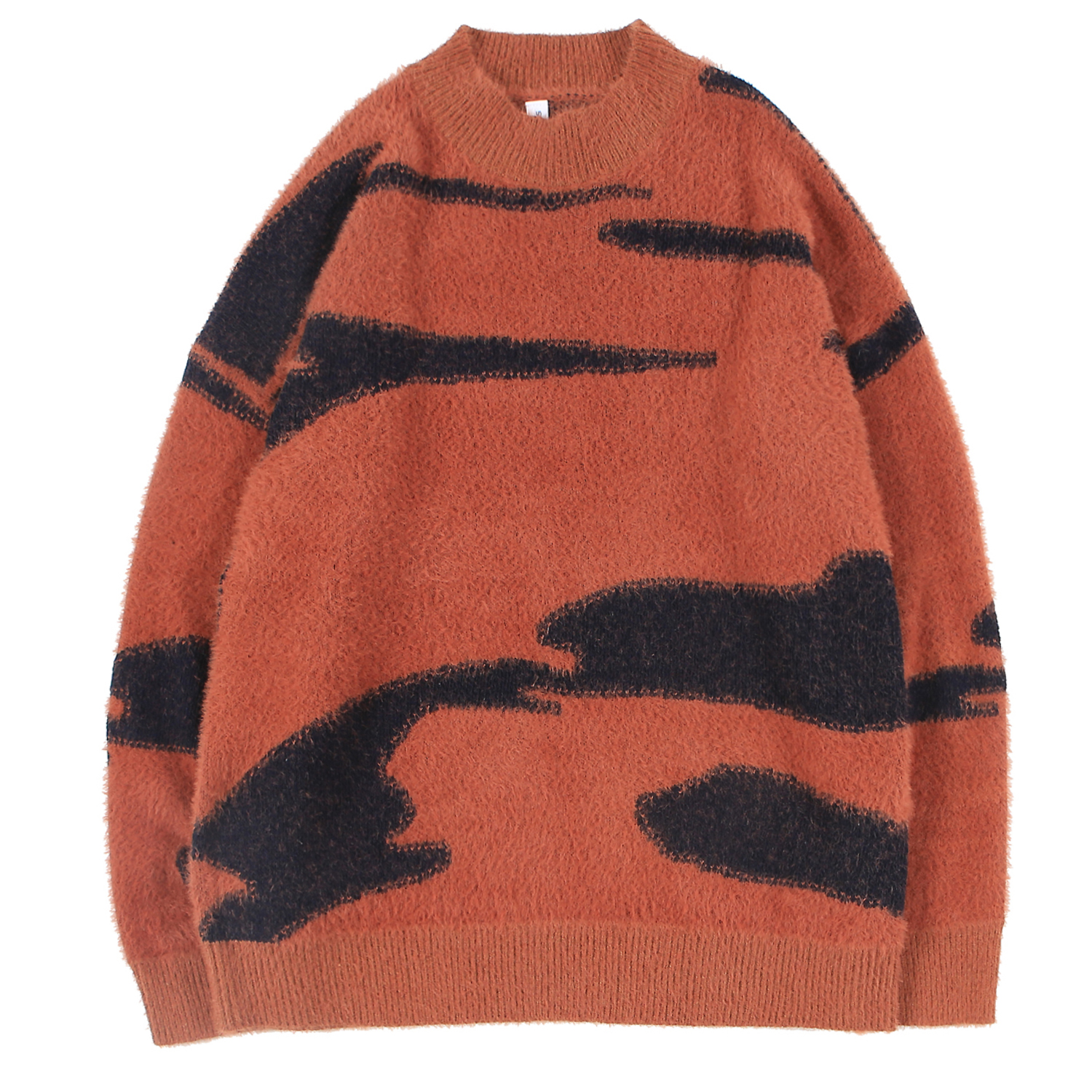 Men's Jumpers Knitted Sweater Cashmere Pullover Crewneck Zebra Combination Tops Outdoor Fashion For Young Boys Autumn Winter