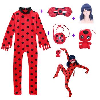 Maluch ubrania fantazyjne Lady Bug Halloween kostiumy dziewczyny dzieci elastan biedronka kostiumy dla dzieci garnitur peruka torba dziewczyny Xmas zestaw tanie i dobre opinie Kombinezony i pajacyki Film i TELEWIZJA Zestawy Ladybug ZXT-4601 COTTON