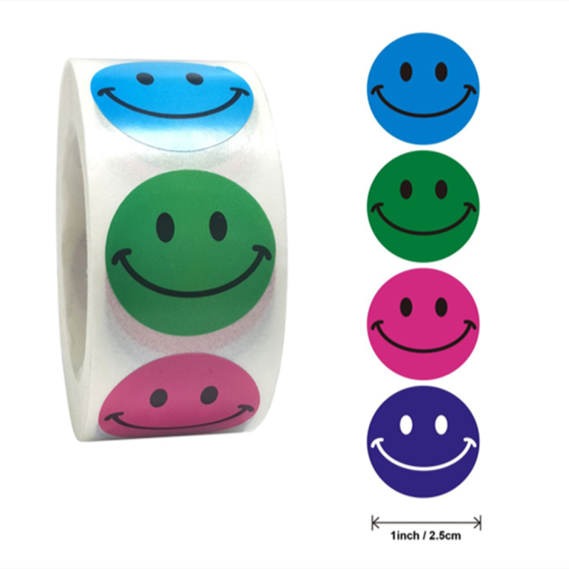 Smiley Face Stickers 500Pcs/roll for Kids Reward Sticker colorful Dots Labels Happy Smile Face Toys Gift Sealing Stickers school