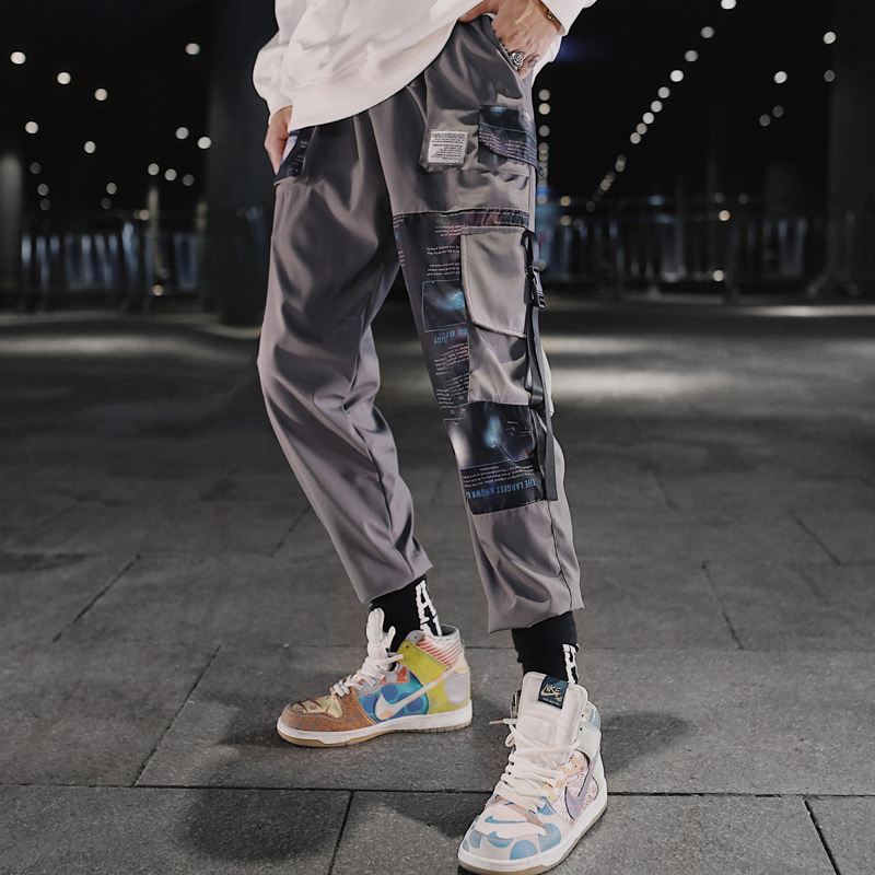 Streetwear Hip Hop Men Military Pants Patchwork Pocket Side 2020 New Loose Joggers Sweatpants Men Ankle Length Trousers For Male