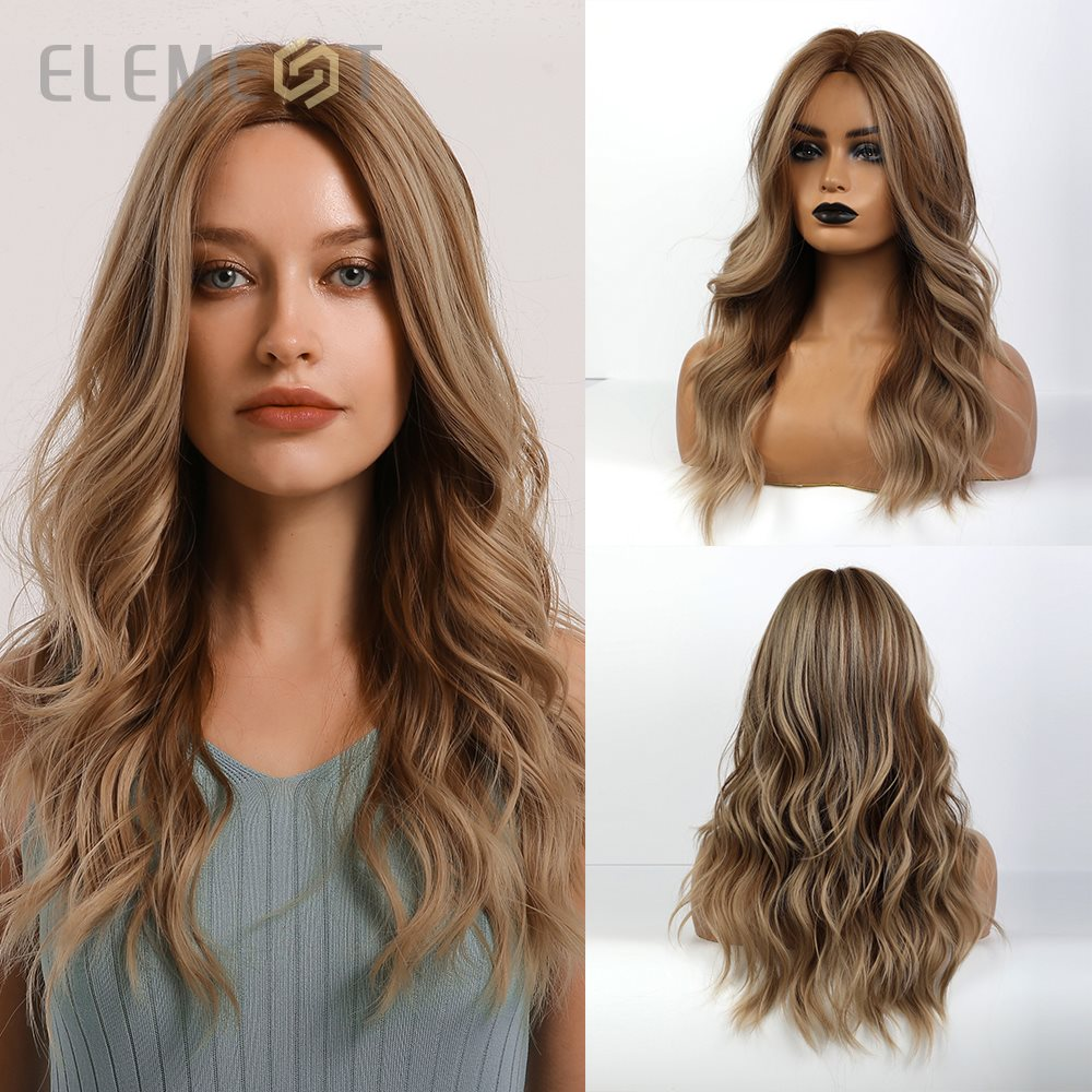 Element Synthetic Long Wavy Brown Mix Milk Tea Color Heat Resistant Fiber Wigs for White/Black Women Party or Daily Wear