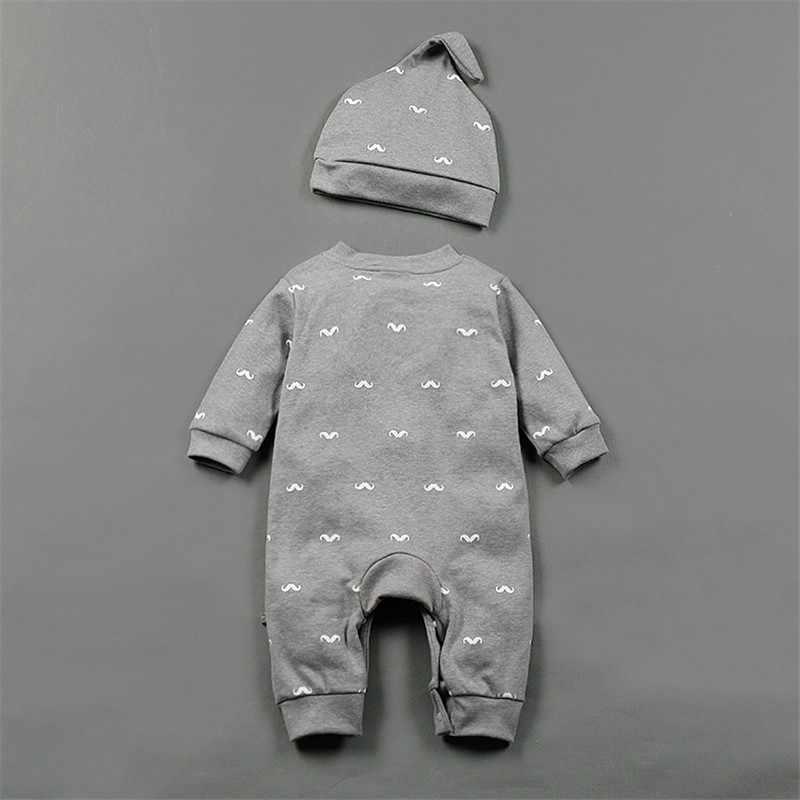 브랜드 Romper 세트 패션 만화 Roupas 드 Bebes Bodysuit + 모자 + 바지 3pcs 아기 소년 의류 세트 귀여운 동물 신생아 아기 옷