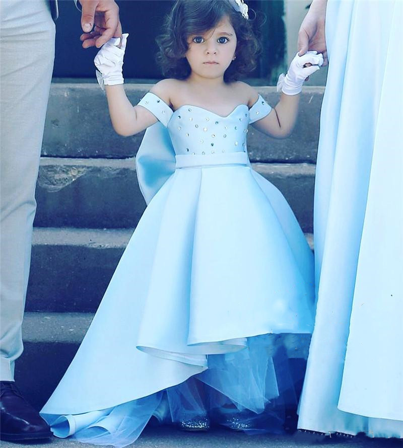 High Low Light Blue Girls Pageant Dresses Knot Bow Plus Size ...