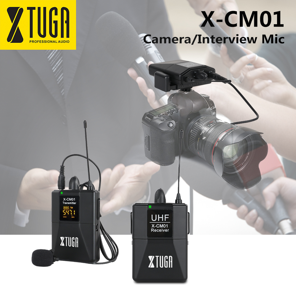 XTUGA X-CM01 UHF Wireless Lavalier Microphone UHF Lapel Camera Mic System with 16 Selectable Channel Come with Two 3 5mm Cables