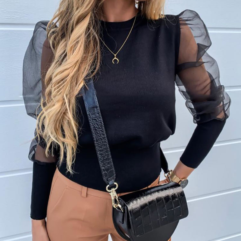 AOTTER SLULIAN 2020 New Fashion Women Blouses Tops Floral Embroidery Long Sleeve Round Neck Sheer Mesh Insert Blouse Women Women's Blouses Women's Clothings cb5feb1b7314637725a2e7: 01|02|03|04|05|06|07|08