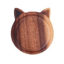 Деревянная тарелка для соуса в японском стиле в форме кошки и рыбы, блюдо для соуса, чаша для суши, закуски, тарелка для дома, кухни, блюдо для приправ