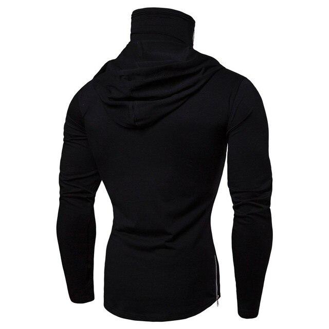 Mens Gym Thin Hoodie Long Sleeve Hoodies With Mask Sweatshirt Casual Splice Large Open-Forked Mask Hoodie Sweatshirt Hooded Tops 5