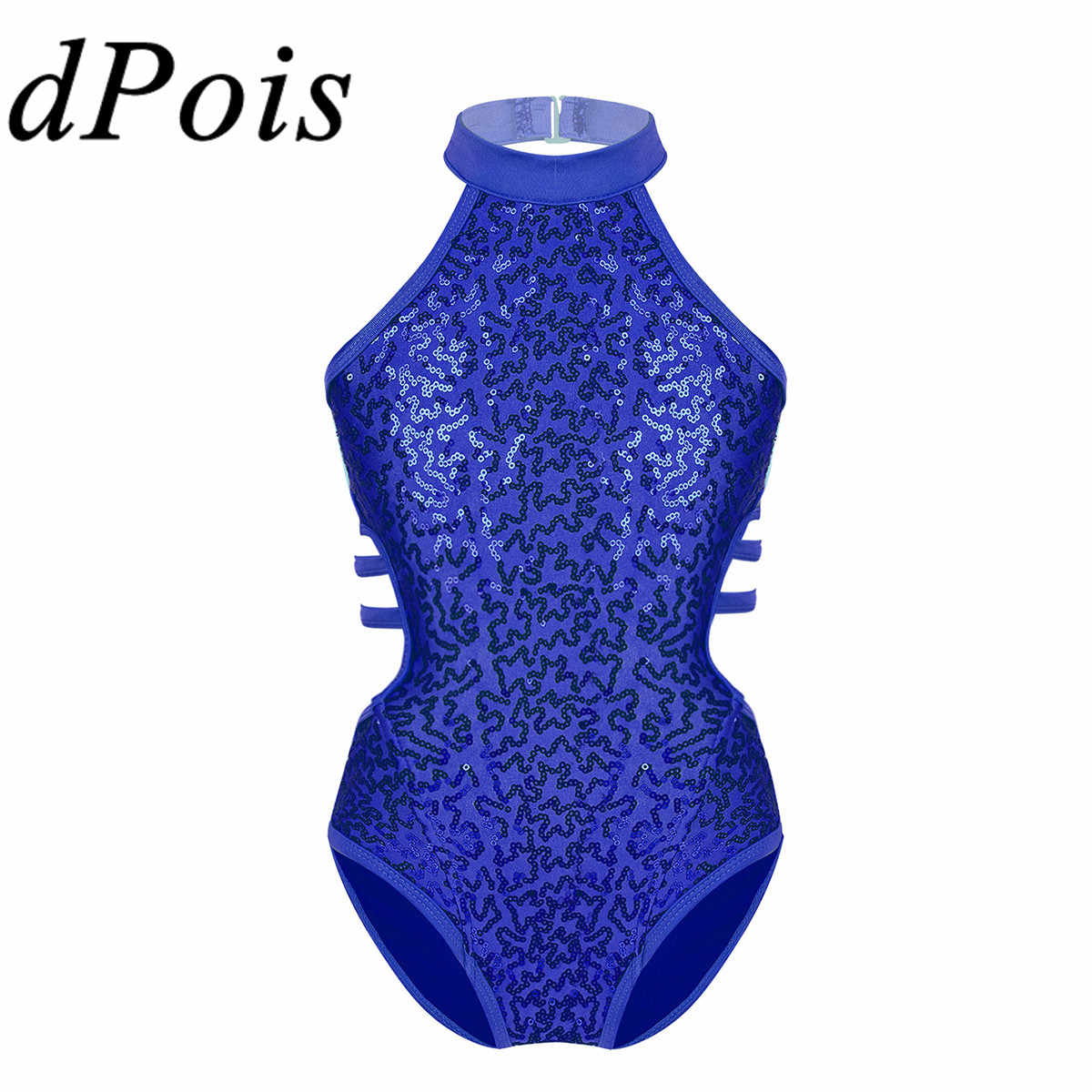 dPois Kids Girls Dancing Costume Mesh Splice V Back Leotard with Arm Sleeves Halloween Cosplay Dress Up
