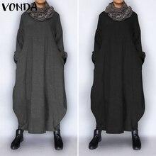 Winter Sweatshirts Dress Women Robe VONDA 2020 Casual Muslim Sundress Casual Long Sleeve Maxi Long Dress Plus Size Vestidos