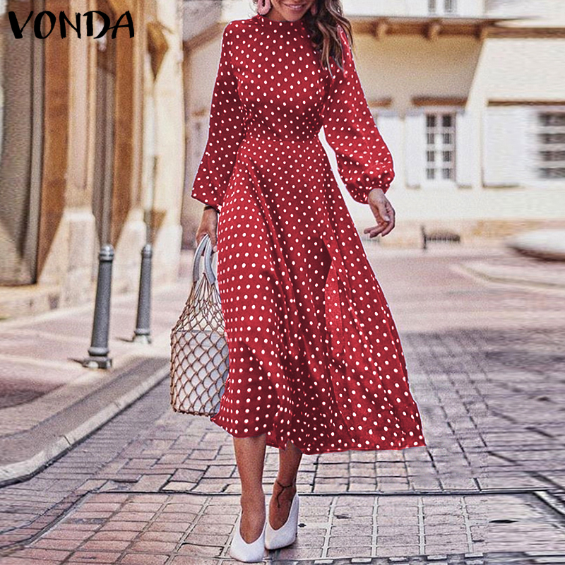 VONDA Party Dresses 2020 Autumn Women Long Sleeve Vintage Polka Dot O-Neck Dress Casual Bohemian Midi Dress Plus Size Sundress