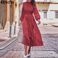 VONDA Party Dresses 2020 Autumn Women Long Sleeve Vintage Polka Dot O-Neck Dress Casual Bohemian Midi Dress Plus Size Sundress